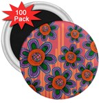 Colorful Floral Dream 3  Magnets (100 pack) Front