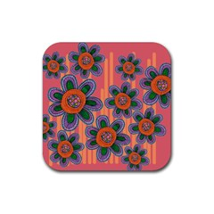 Colorful Floral Dream Rubber Coaster (square)