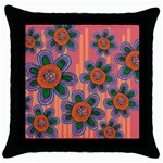 Colorful Floral Dream Throw Pillow Case (Black) Front