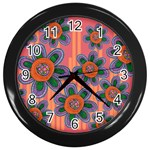 Colorful Floral Dream Wall Clocks (Black) Front