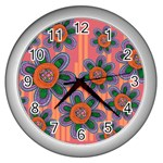 Colorful Floral Dream Wall Clocks (Silver)  Front