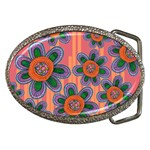 Colorful Floral Dream Belt Buckles Front