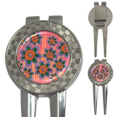 Colorful Floral Dream 3 In 1 Golf Divots