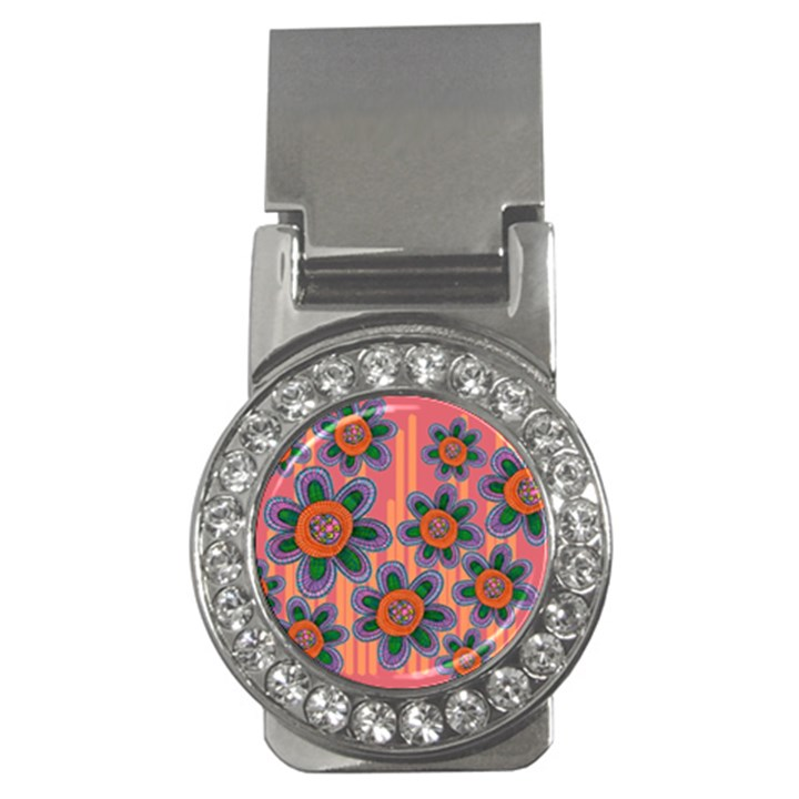 Colorful Floral Dream Money Clips (CZ)