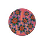 Colorful Floral Dream Rubber Coaster (Round)  Front