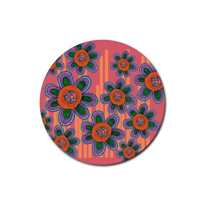 Colorful Floral Dream Rubber Round Coaster (4 pack)