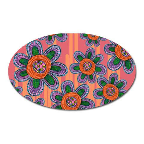 Colorful Floral Dream Oval Magnet