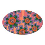 Colorful Floral Dream Oval Magnet Front