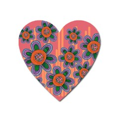 Colorful Floral Dream Heart Magnet