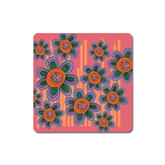 Colorful Floral Dream Square Magnet