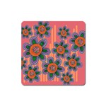 Colorful Floral Dream Square Magnet Front