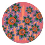 Colorful Floral Dream Magnet 5  (Round) Front