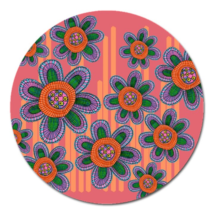 Colorful Floral Dream Magnet 5  (Round)