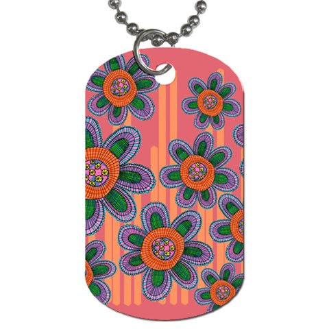 Colorful Floral Dream Dog Tag (Two Sides)
