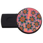 Colorful Floral Dream USB Flash Drive Round (1 GB)  Front