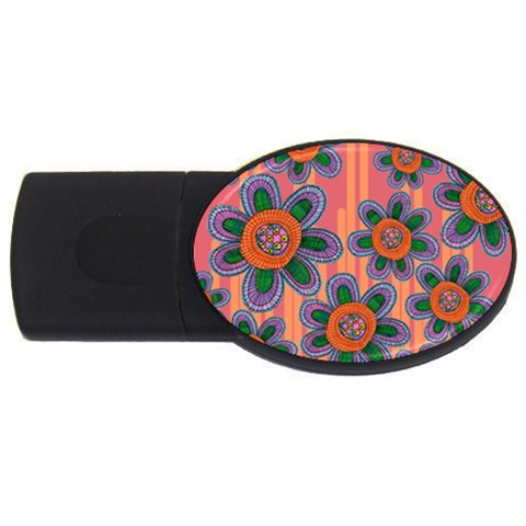 Colorful Floral Dream USB Flash Drive Oval (1 GB)