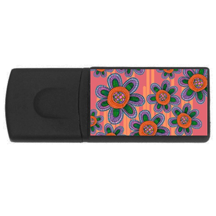 Colorful Floral Dream USB Flash Drive Rectangular (1 GB)