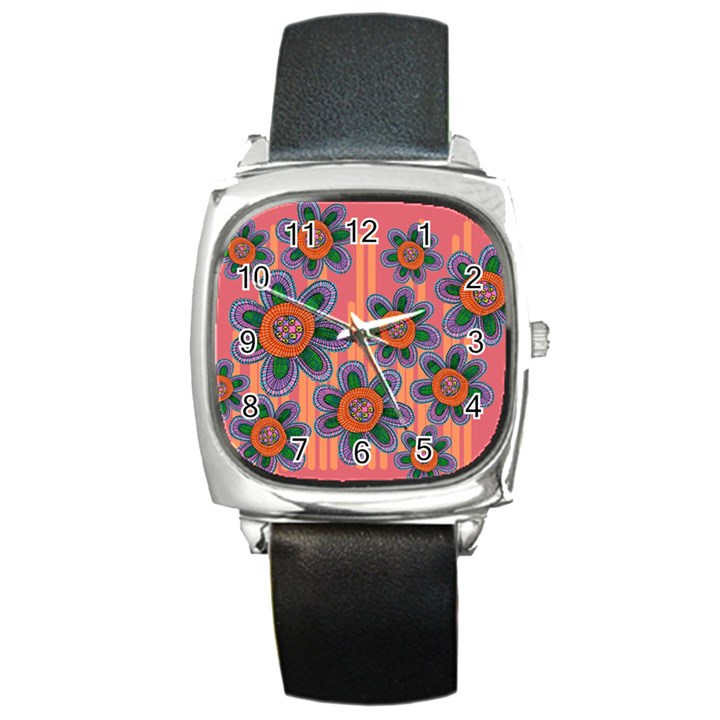 Colorful Floral Dream Square Metal Watch