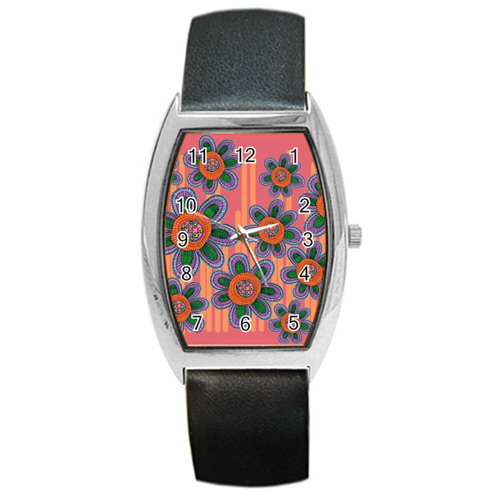 Colorful Floral Dream Barrel Style Metal Watch