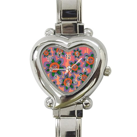 Colorful Floral Dream Heart Italian Charm Watch