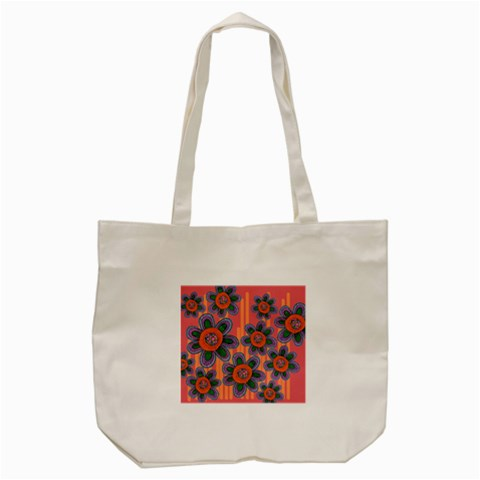 Colorful Floral Dream Tote Bag (Cream)