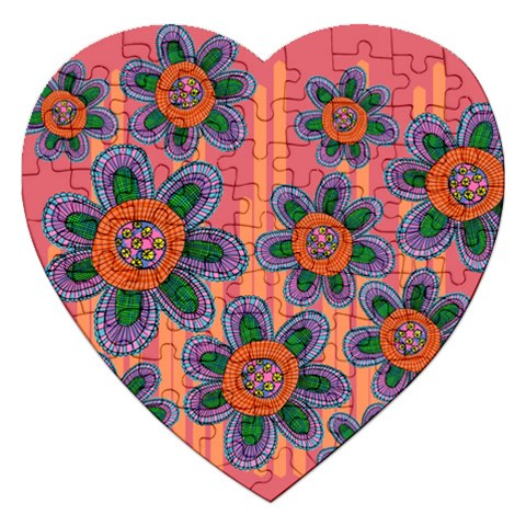 Colorful Floral Dream Jigsaw Puzzle (Heart)