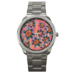 Colorful Floral Dream Sport Metal Watch Front