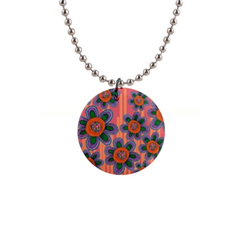 Colorful Floral Dream Button Necklaces