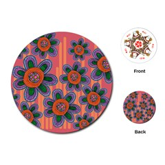 Colorful Floral Dream Playing Cards (Round)