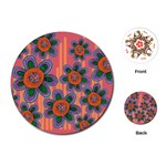 Colorful Floral Dream Playing Cards (Round)  Front