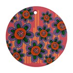 Colorful Floral Dream Round Ornament (Two Sides)  Back