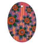 Colorful Floral Dream Oval Ornament (Two Sides) Front