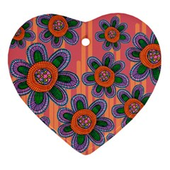 Colorful Floral Dream Heart Ornament (2 Sides)