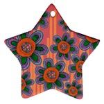 Colorful Floral Dream Star Ornament (Two Sides)  Front