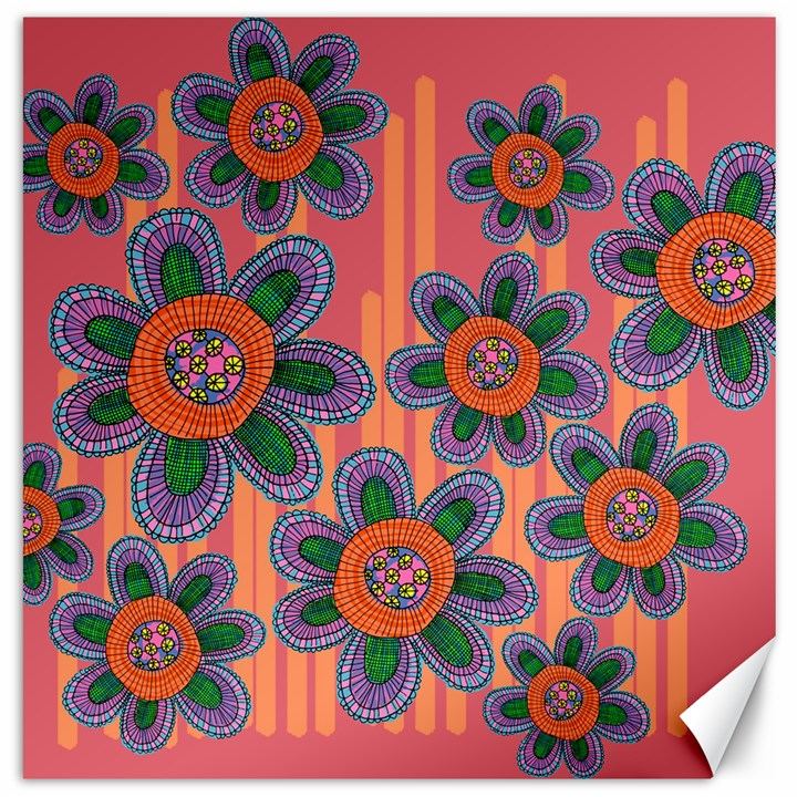 Colorful Floral Dream Canvas 12  x 12