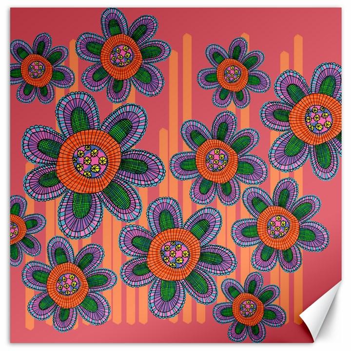 Colorful Floral Dream Canvas 16  x 16