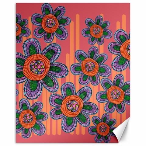 Colorful Floral Dream Canvas 16  x 20