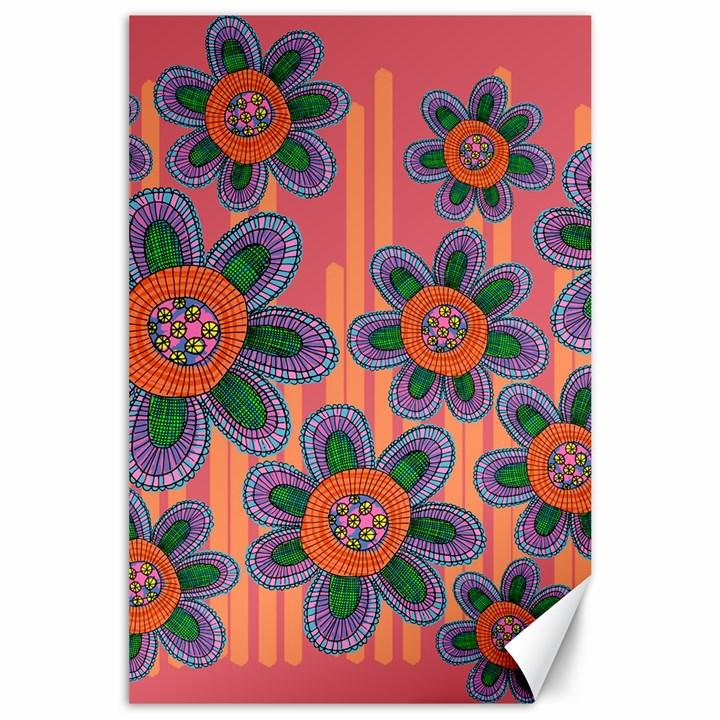 Colorful Floral Dream Canvas 24  x 36