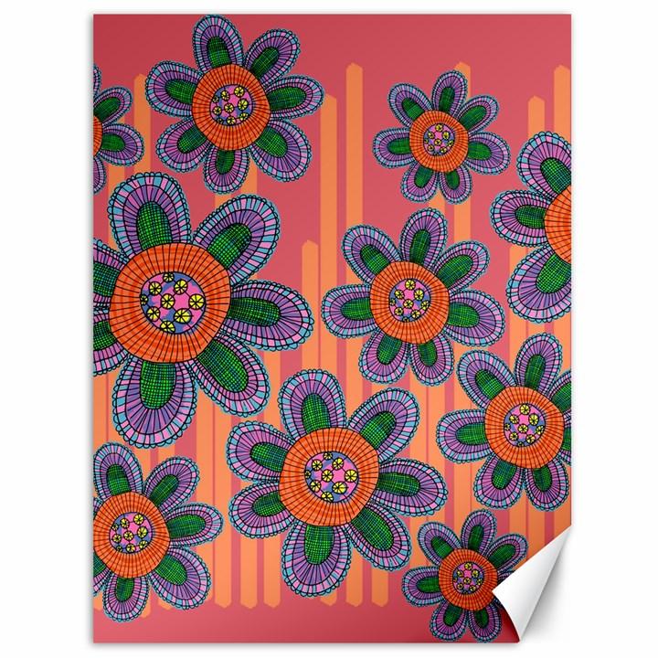Colorful Floral Dream Canvas 36  x 48