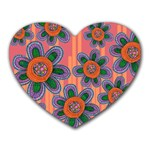 Colorful Floral Dream Heart Mousepads Front