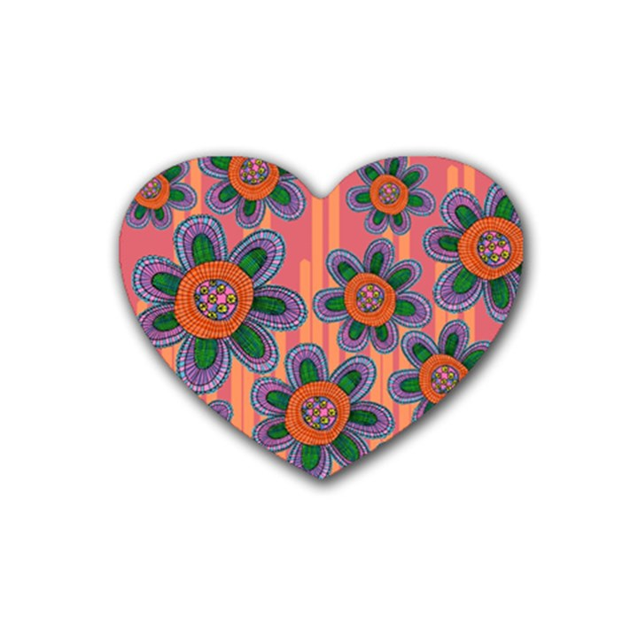 Colorful Floral Dream Rubber Coaster (Heart)