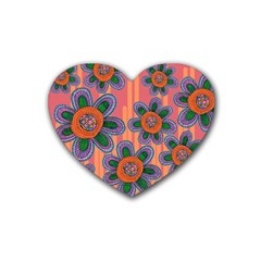 Colorful Floral Dream Heart Coaster (4 Pack)
