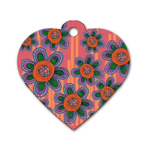 Colorful Floral Dream Dog Tag Heart (One Side)