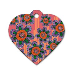 Colorful Floral Dream Dog Tag Heart (two Sides)