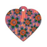 Colorful Floral Dream Dog Tag Heart (Two Sides) Front