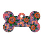 Colorful Floral Dream Dog Tag Bone (Two Sides) Front