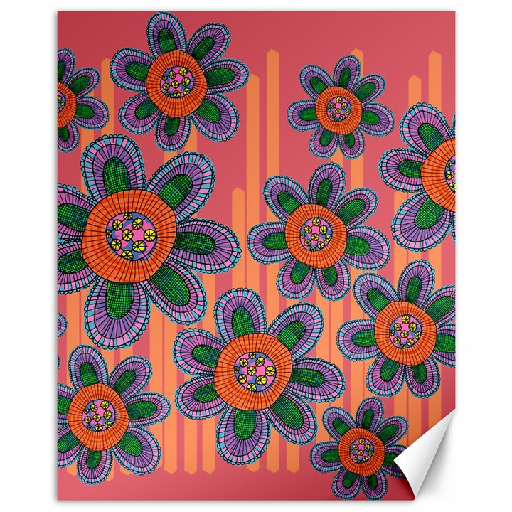 Colorful Floral Dream Canvas 11  x 14