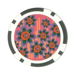 Colorful Floral Dream Poker Chip Card Guards Back