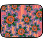 Colorful Floral Dream Double Sided Fleece Blanket (Mini)  35 x27 Blanket Back