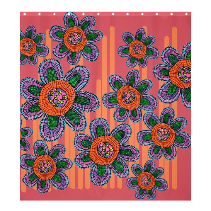 Colorful Floral Dream Shower Curtain 66  x 72  (Large)